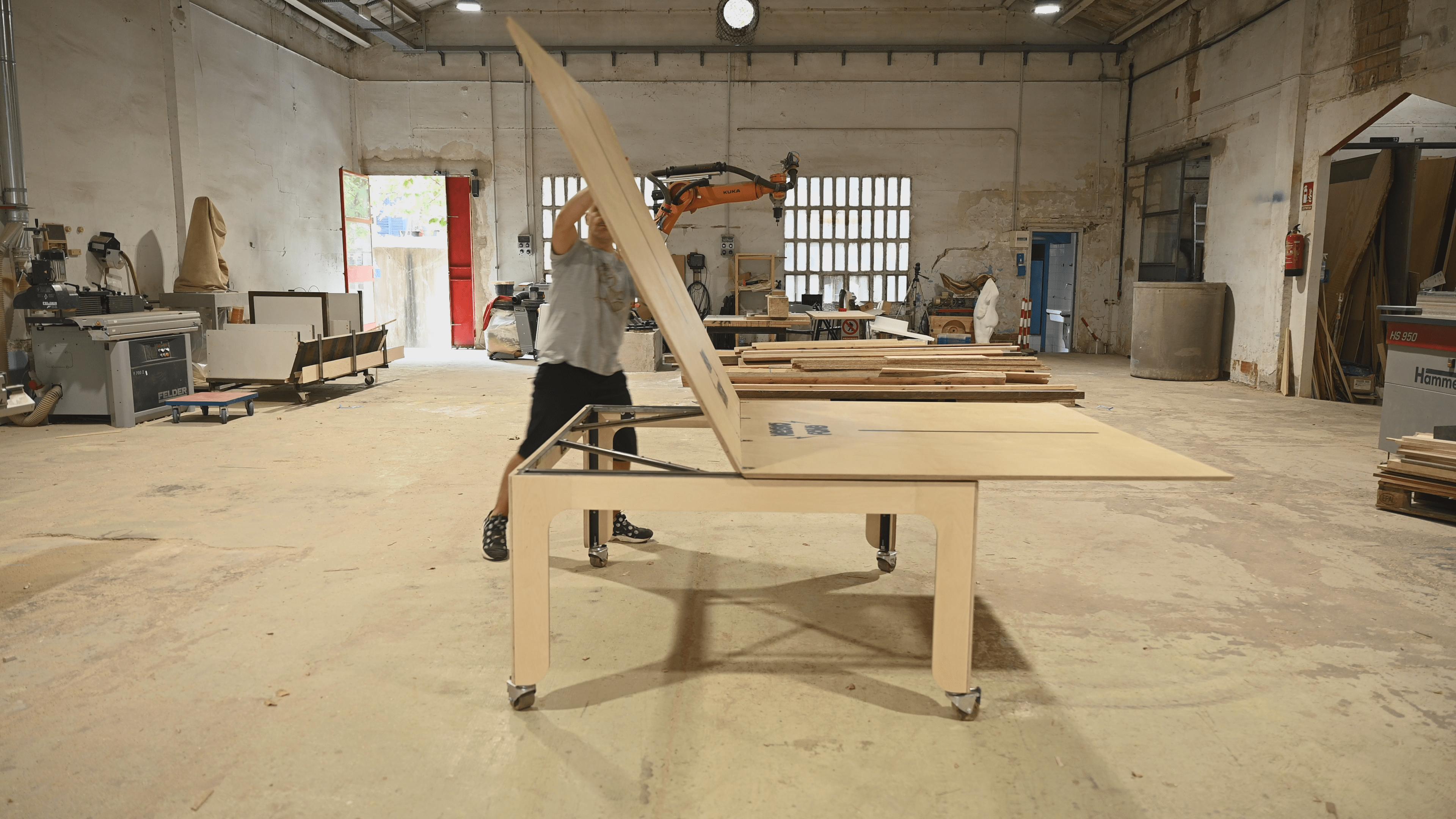folding system, folding table, folding ping pong table
